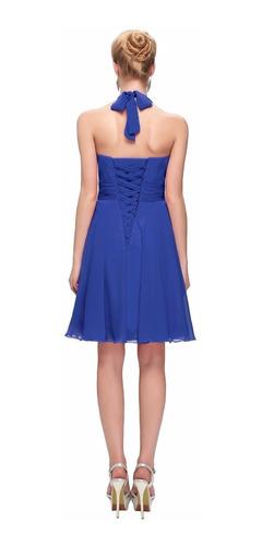 vestido fiesta corto azul talla 6  modelo gk 13