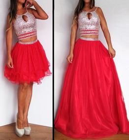 f1b99b6a6 Vestido Fiesta Egresada 3 Piezas Top Y Polleras Rojo