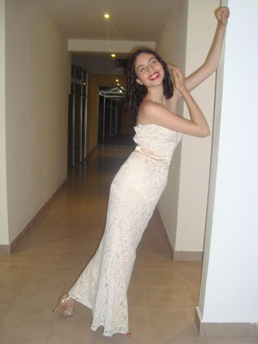 vestido fiesta encaje color champagne