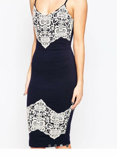 vestido fiesta formal ax paris navy/nude