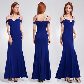 comprar mejor exuberante en diseño Vestido Fiesta Gala Largo Azul Elegantisimo Importado