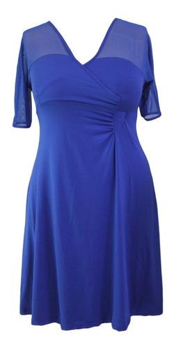 vestido fiesta graduación matrimonio plus size negro y azul