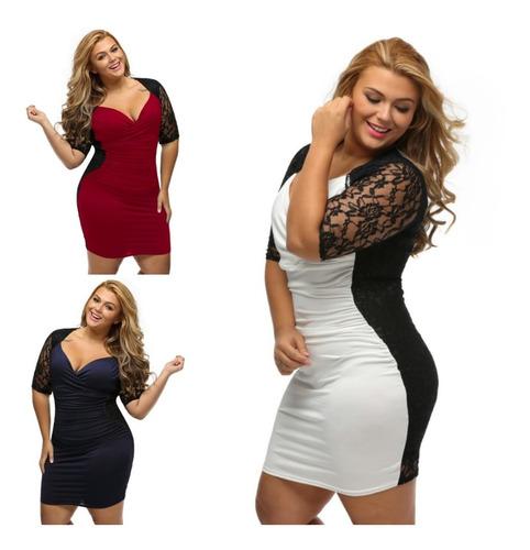 vestido fiesta ilusión encaje sexy talla extra xl al 3xl