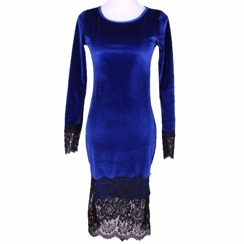 b5b3b40ed vestido fiesta invierno otoño manga larga terciopelo azul. Cargando zoom.