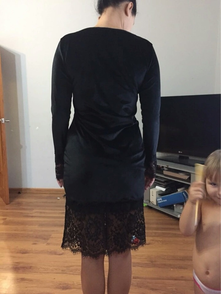 c18d8d394 vestido fiesta invierno otoño manga larga terciopelo negro. Cargando zoom.