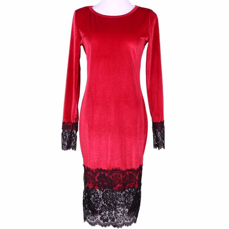 b9c9780dd vestido fiesta invierno otoño manga larga terciopelo rojo. Cargando zoom.