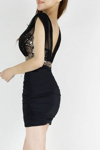vestido fiesta japonesa asiatica coreana sexi negro de noche