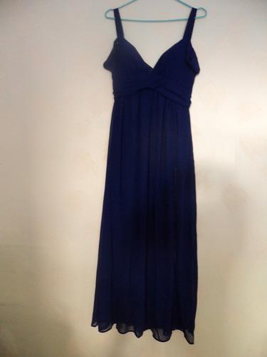 vestido fiesta largo azul escotado gasa va 285
