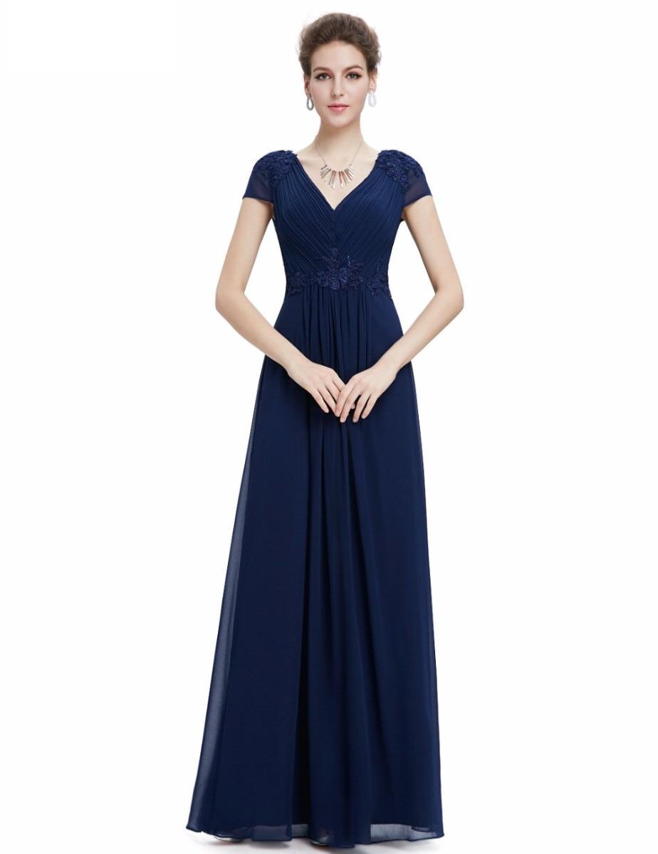 d07ae1f6fc Vestido Fiesta Largo Azul Escote V Talla 6 Ep 82 -   64.900 en ...