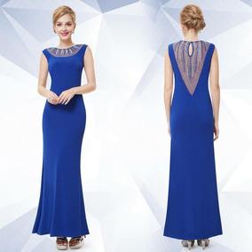 Vestido Fiesta Largo Azul Muy Delicado Elegante Importado