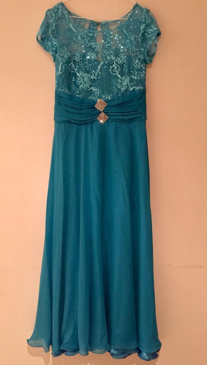 345d5de39 vestido fiesta largo azul turquesa talla m usado única dueña. Cargando zoom.