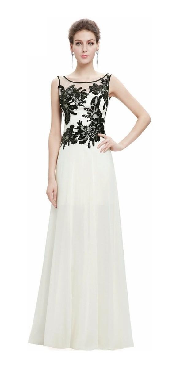 bueno vende fecha de lanzamiento: Vestido Fiesta Largo Blanco Negro Gasa Talla 8 Ep 106