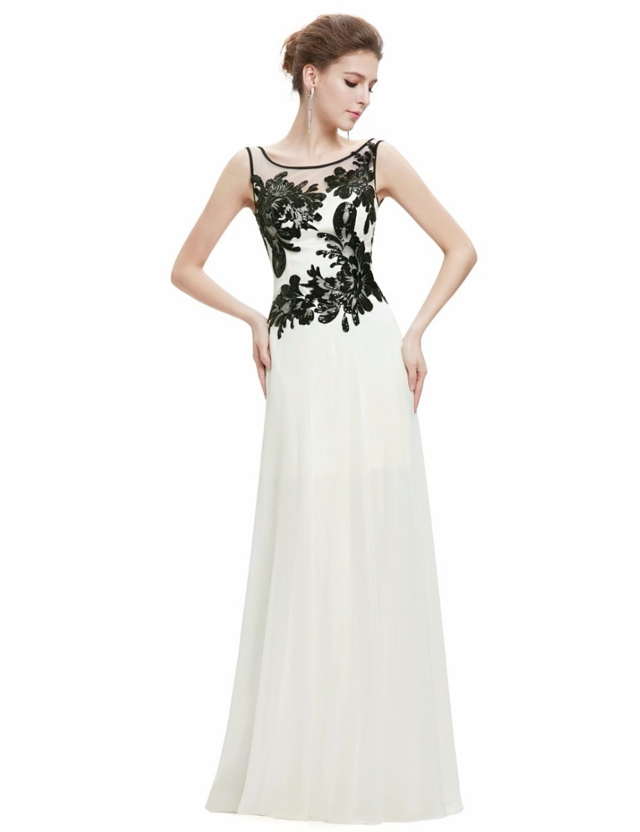 Vestido fiesta blanco negro