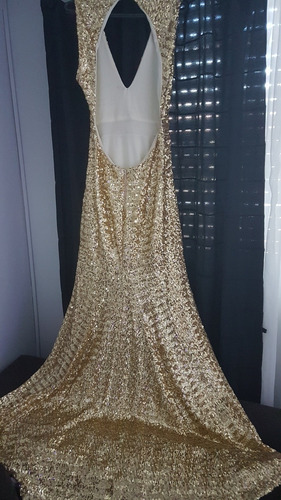 vestido fiesta largo dorado. espectacular!!