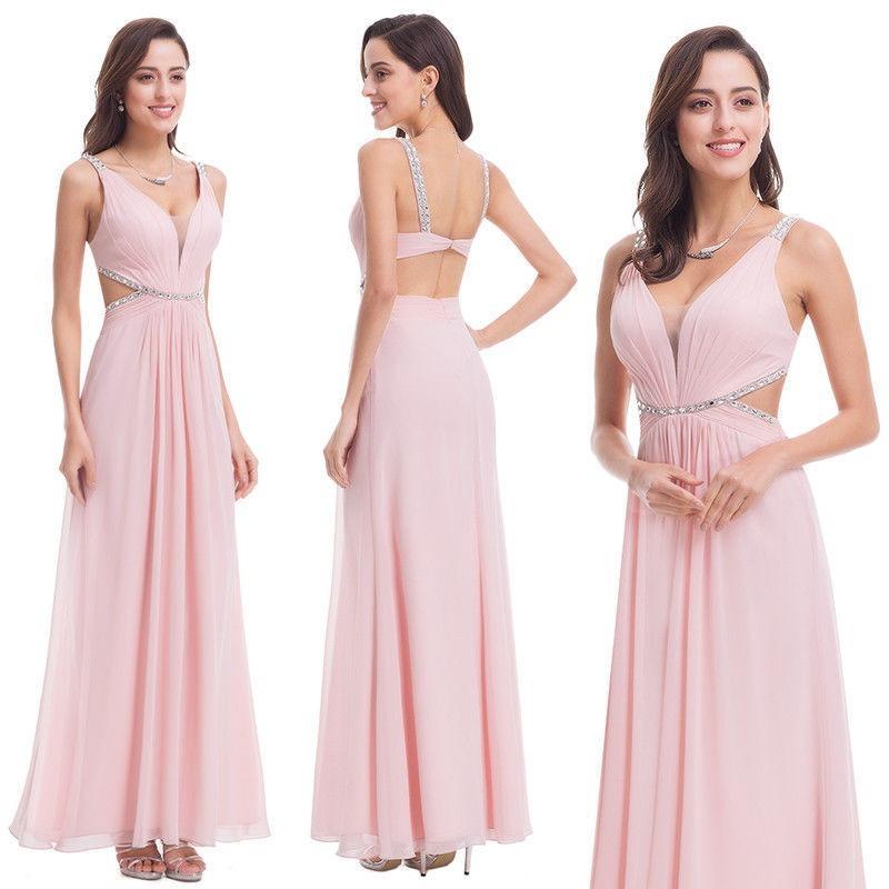 503b36a1e3 vestido fiesta largo gasa rosa con piedras importado. Cargando zoom.