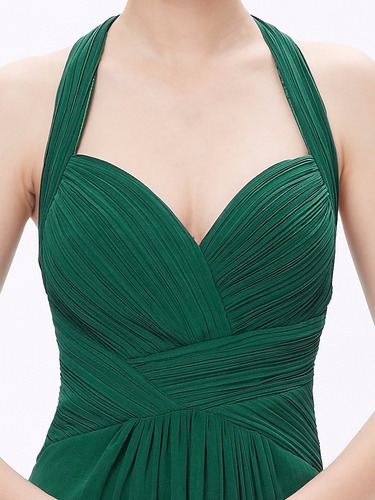 vestido fiesta largo gasa talla 12 verde  ep 33