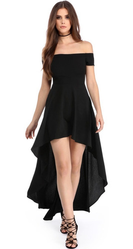 vestido fiesta largo negro escote falda darcos 61437