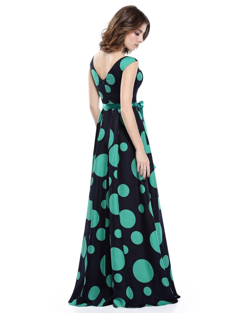Vestido largo lunares verde