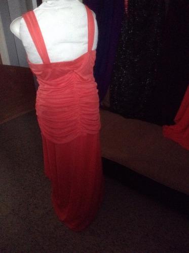 vestido fiesta largo nuevo importado talle l color coral