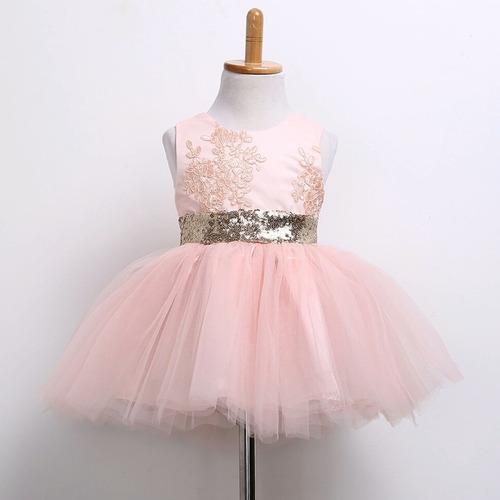 vestido fiesta lentejuela niña rosa salmón