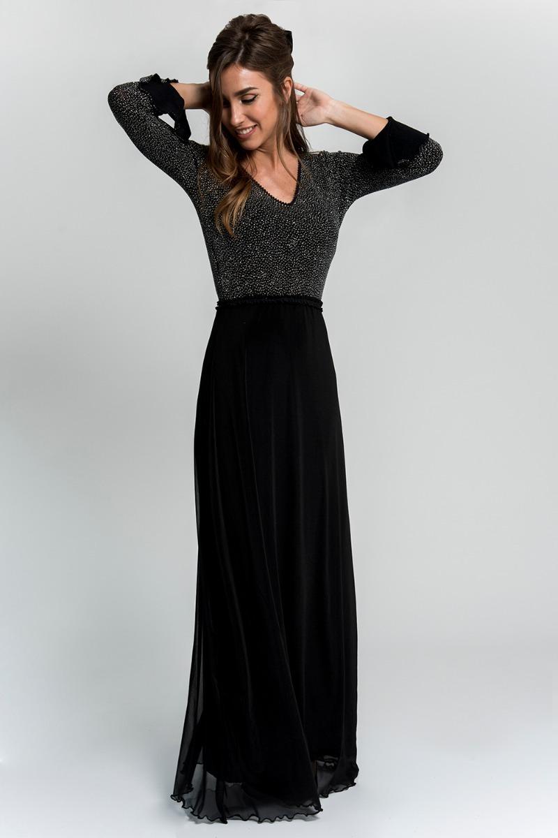 6c68a79e1 vestido fiesta mangas largo negro brillos espalda al aire. Cargando zoom.