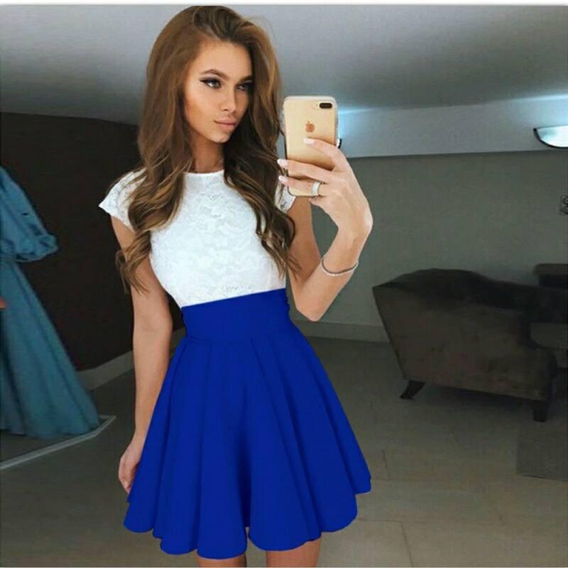 Vestido fiesta azul blanco