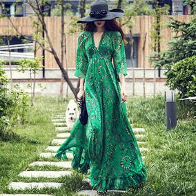 6cd44e57a527 Vestido Fiesta Maxi Boho Sexy Playa Mujeres Impresión Flora
