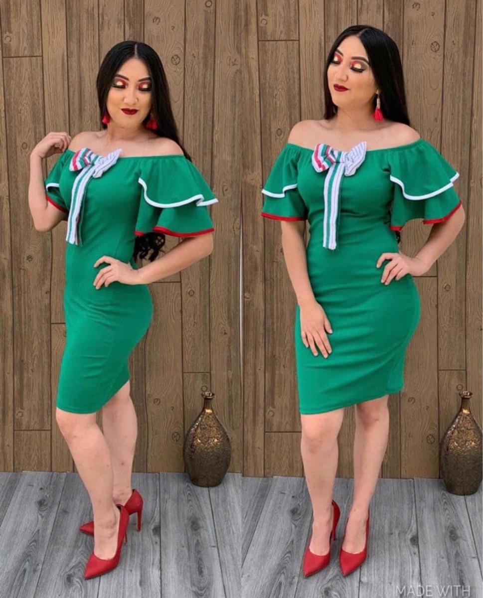Vestido Fiesta Mexicana Blanco Y Verde