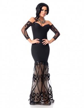 ec790b73a Vestido Fiesta Negro Bordado A Los Hombros Envío Gratis -   849.00 en Mercado  Libre