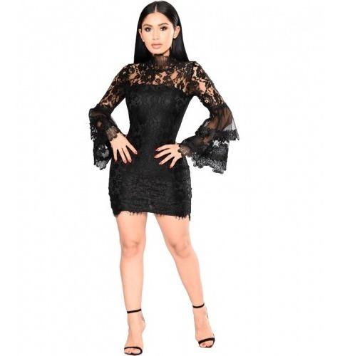 68b6974ab0db Vestido Fiesta Negro Corto Encaje Manga Campana