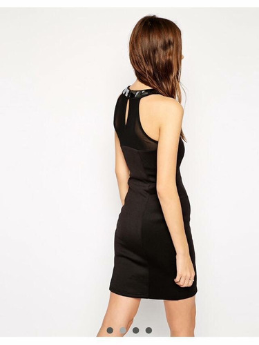 vestido fiesta negro ( hermosos detalles en el cuello)