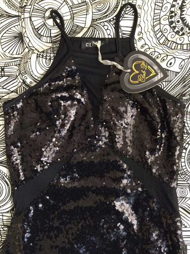 vestido fiesta negro lentejuelas/transparencia