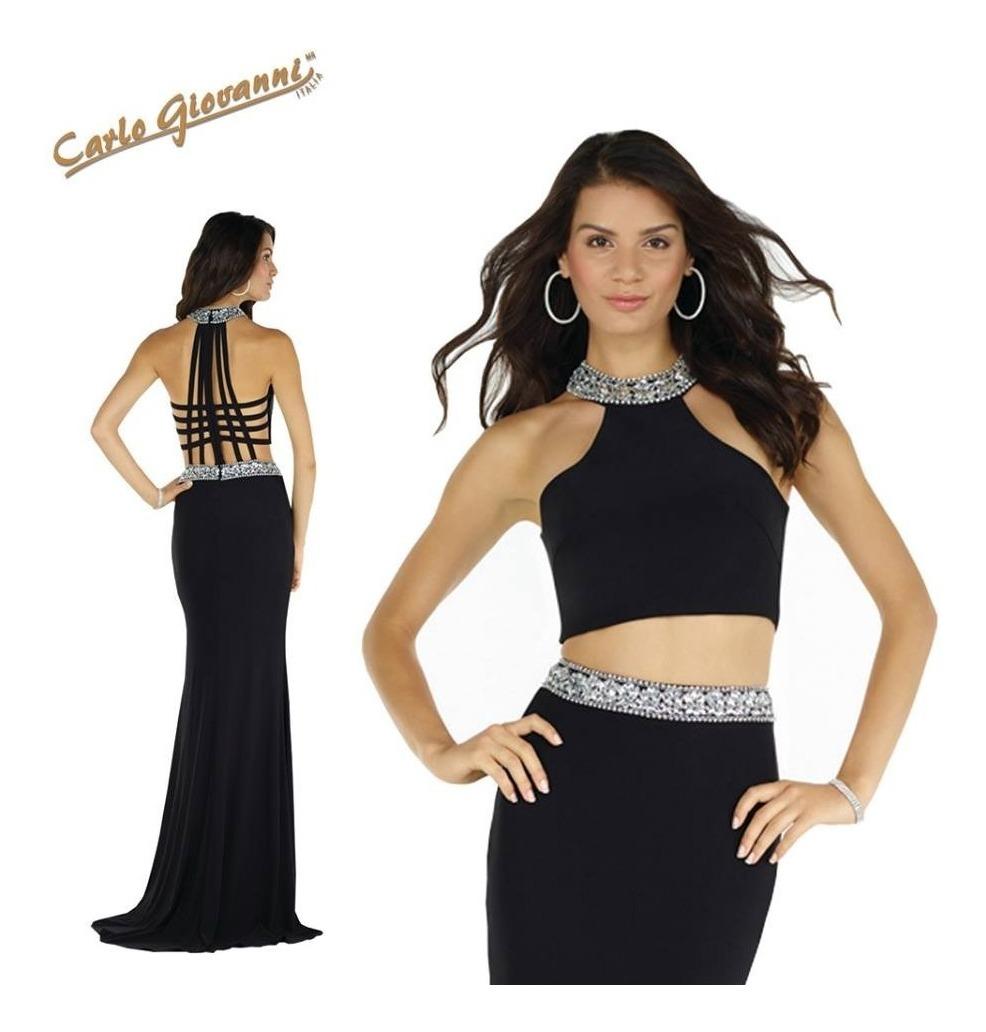 Vestido Fiesta Negro Noche Carlo Giovanni Elegante Fino Ch M