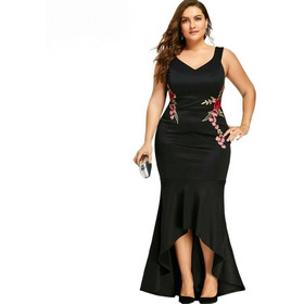 Vestido Fiesta Negro O Morado Largo Talla Plus +envío Gratis