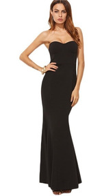 Vestido Fiesta Negro Strapless Corte Sirena Red Carpet Gdl