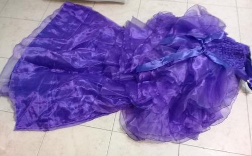 vestido fiesta nena maximo 6 años con volados y cola