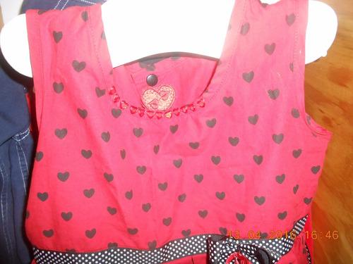 vestido fiesta nena  rojo con corazones de 2 a 5 años