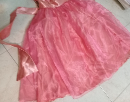 vestido fiesta nena salmon con volados maximo 6 años