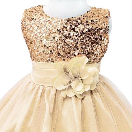 vestido fiesta niña beige - bazar amanda