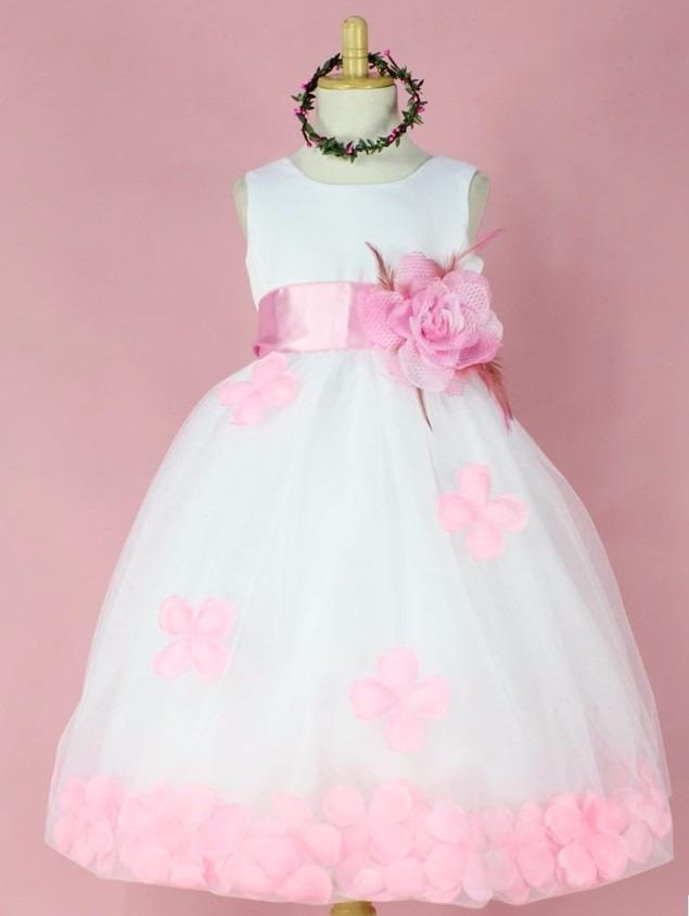 Vestido Fiesta Niña Rosa Con Flores. - $ 24.990 en Mercado Libre