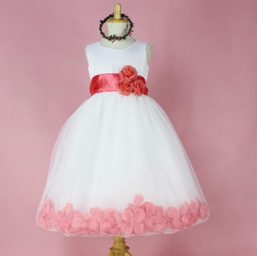 Vestido Fiesta Niña Salmon Con Flores. - $ 21.990 en Mercado Libre