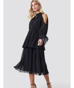e3daca7fcbbf Vestido Fiesta Noche Elegante Largo Midi Color Negro Vestido Manga Larga  Escote Redondo Linea A Con Microelástico