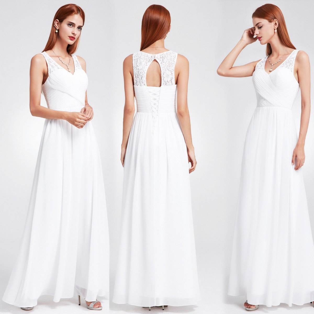 vestido fiesta novia egresadas largo blanco importado. Cargando zoom. d69c58a62bfc