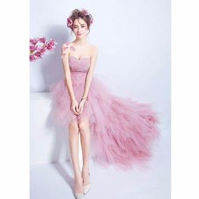 Vestidos Fiesta Color Rosa Palo Con Manga Ropa Bolsas Y