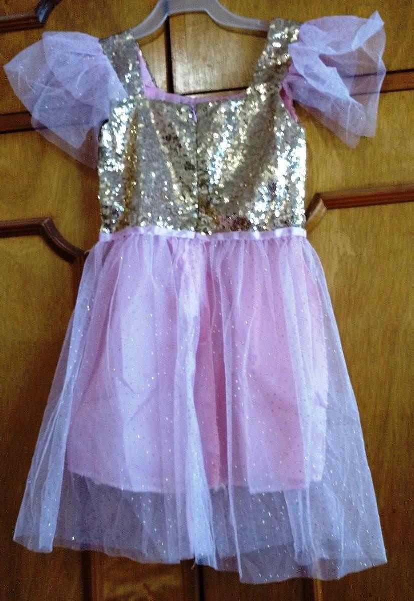 Vestido Fiesta Para Niña Lentejuelas Dorado Rosa Baile - $ 230.00 en ...