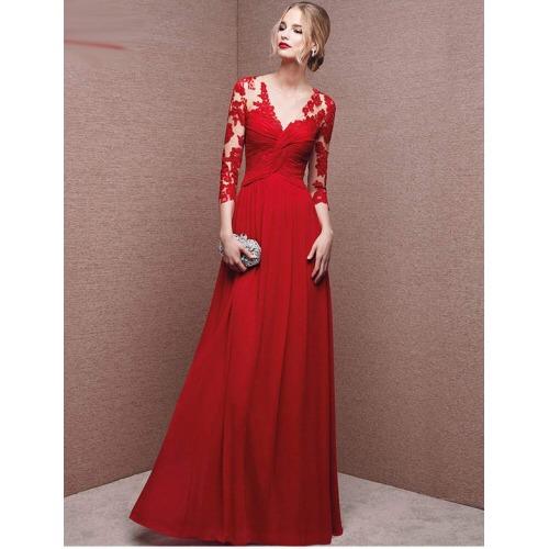 Vestidos de fiesta rojo elegante