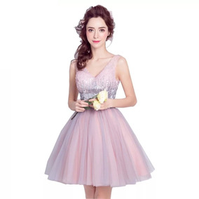 cfd5a9eeb Vestido Fiesta Rosa Lentejuela Envio Gratis ! G-0521001