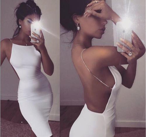 vestido fiesta sexy negro/ blanco sin espalda