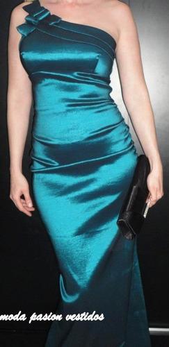 vestido fiesta sirena un hombro colores y talles moda pasion