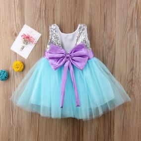 Vestido Fiesta Sirenita Moda Niña Bebé Lindo Lentejuelas Calidad